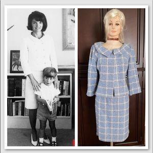 Vintage Jackie O Courtenay Blue Tweed 2-pc Suit 8